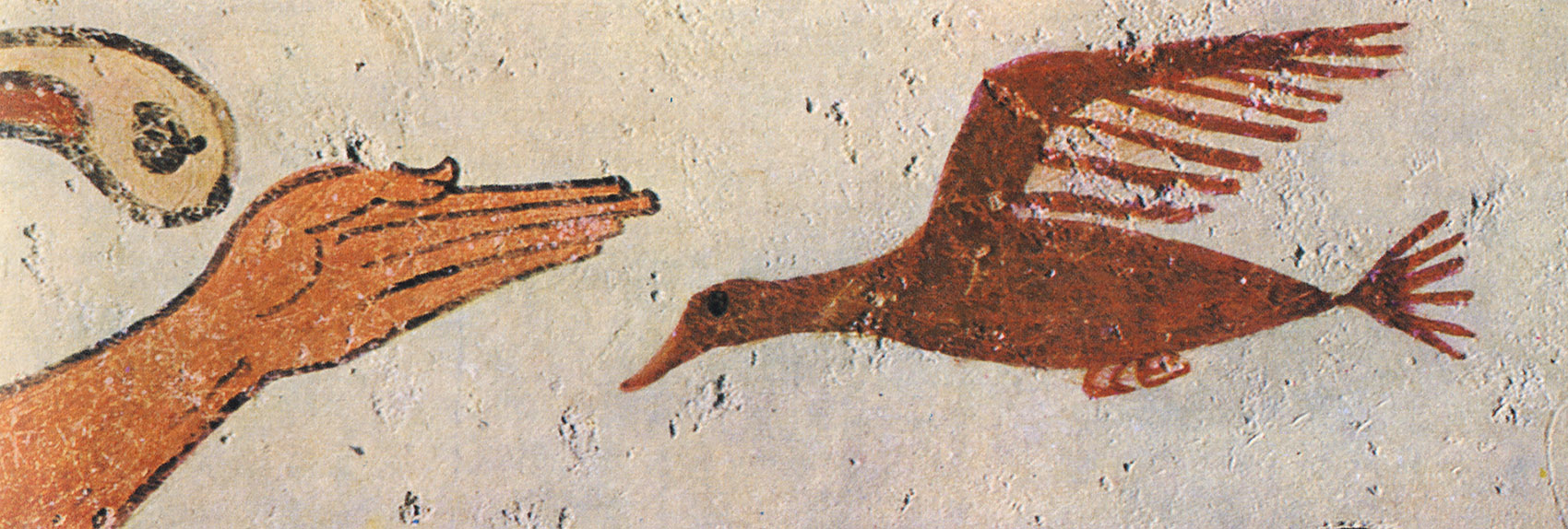 Hand and a bird. 6th century BCE. Tarquinia, Tomb of the Augurs