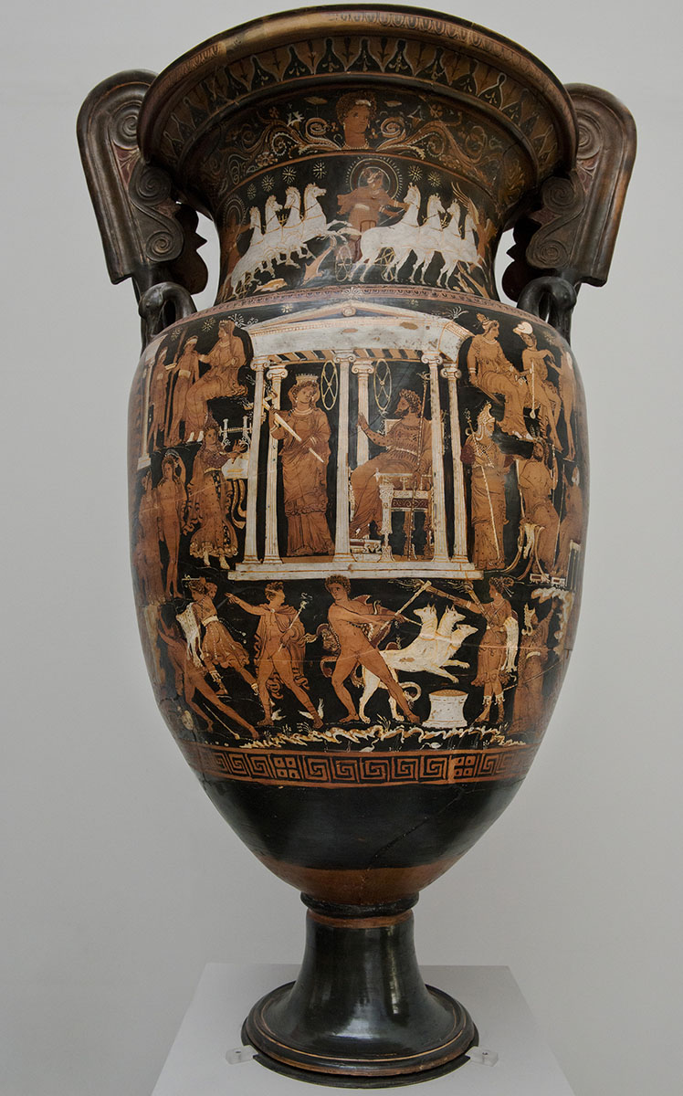 Volute-krater depicting the journey of Orpheus to the Underworld. Red-figured volute-krater. Apulia. Attributed to The Underworld Painter (by Trendall). Clay. Ca. 330—310 BCE. Munich, State Antique Collection