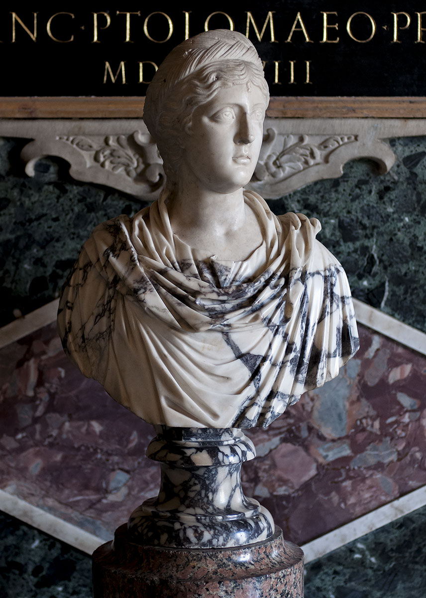 Portrait bust of a woman from the imperial house. Pavonazzetto marble. Ca. 390 CE. Inv. No. MC 404. Rome, Capitoline Museums, Palazzo dei Conservatori, Hall of Captains