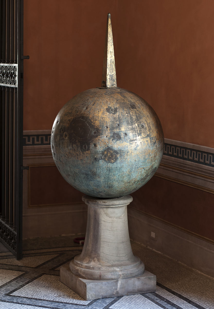 Globe from atop the Vatican Obelisk, thought in Medieval times to contain Julius Caesar's ashes. Gilded bronze. First half of the 1st cent. CE. Inv. No. MC 1066. Rome, Capitoline Museums, Palazzo dei Conservatori, Medieval Room