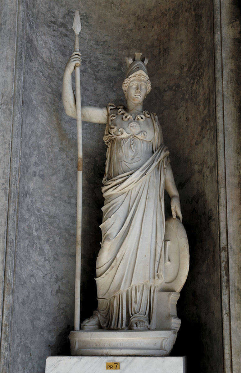 Statue of Athena. Marble. Roman work (193—235 CE?) after a Greek model of the 3rd cent. BCE. Extensive restoration and additions by Ferdinando Lisandroni, 1779. Inv. No. 966. Rome, Vatican Museums, Pius-Clementine Museum, Octagonal Court, Cabinet of Canova (Perseus), 7