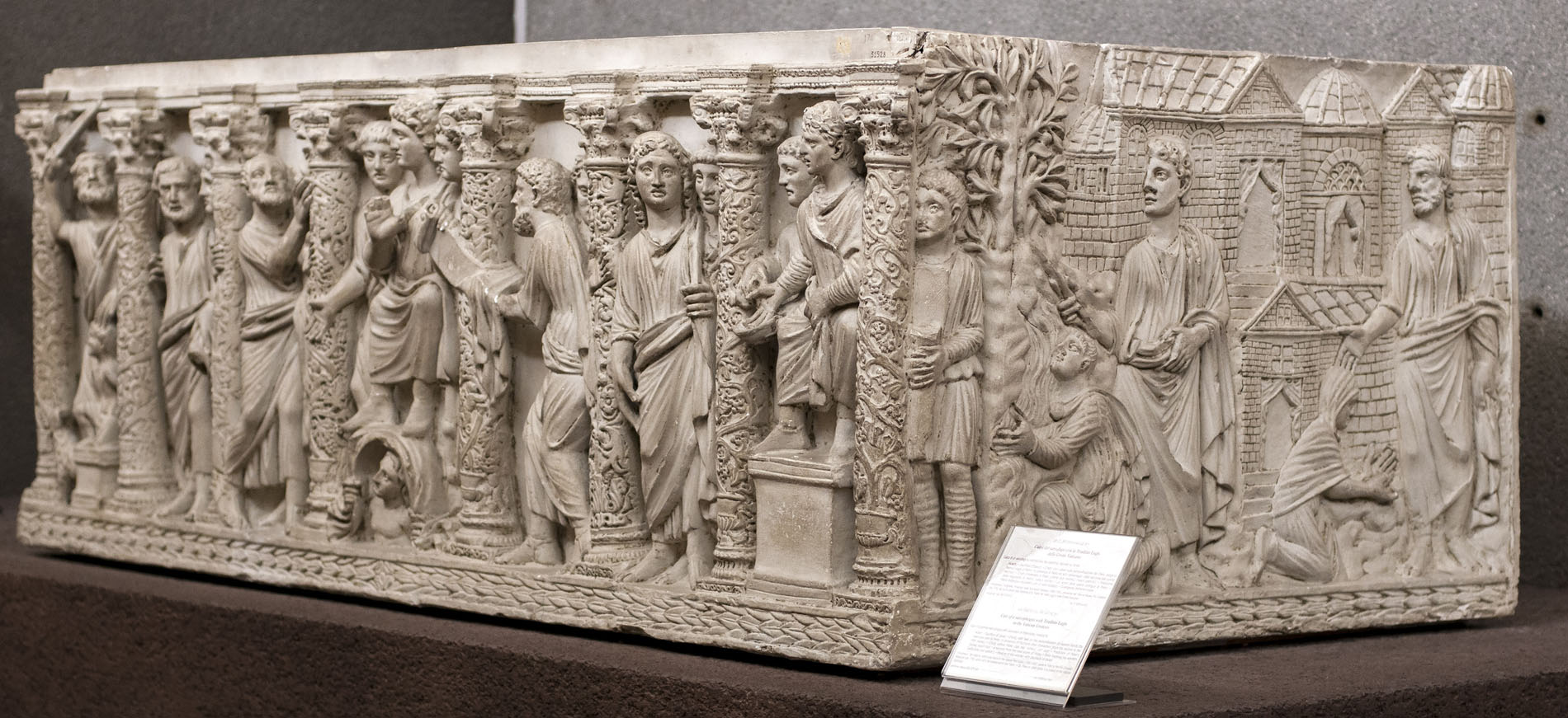 Cast of a sarcophagus with Traditio Legis in the Vatican Grottoes. Original (inv. 174): marble, c. 350—375 CE. Inv. No. 31528 (ex XXV). Rome, Vatican Museums, Pio-Christian Museum