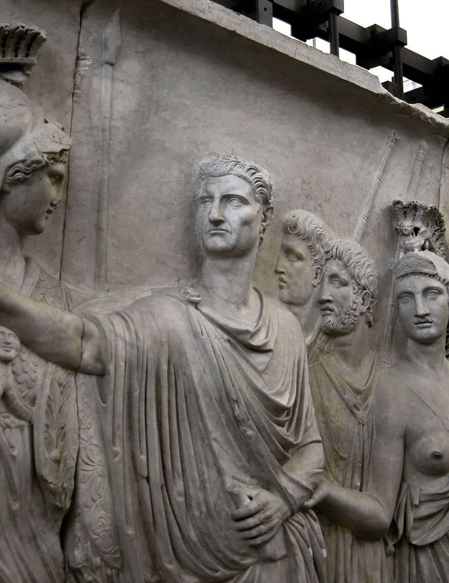 Departure of the emperor from Rome for a military campain (profectio). Detail: the emperor Nerva (reworked Domitian). Relief A from Palazzo Cancelleria in Rome. Luna marble. 81—96 CE. Rome, Vatican Museums, Gregorian Profane Museum
