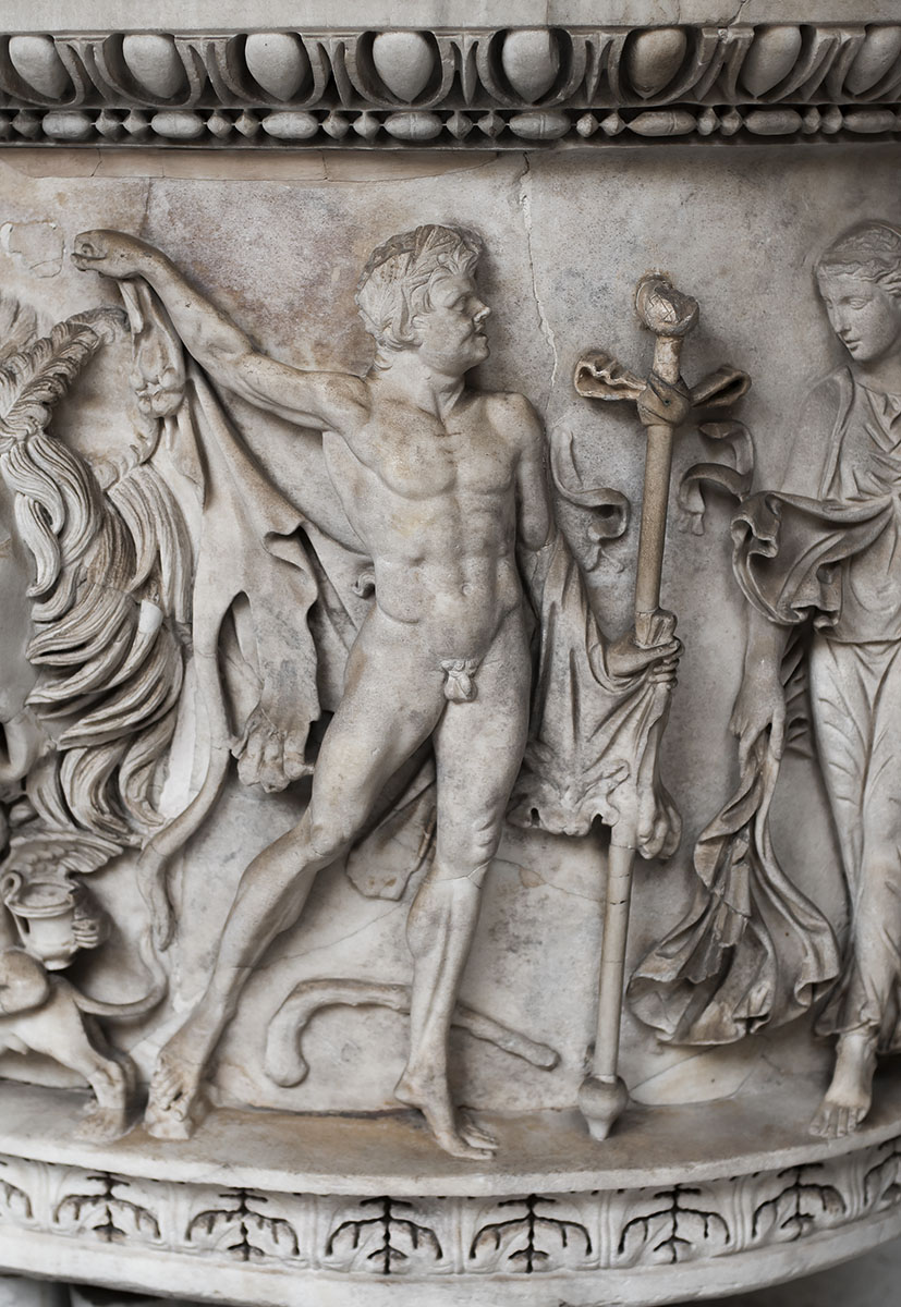 Lenos-sarcophagus with representation of the Dionysiac procession. Right side: dancing maenad and satyr. White Naxian marble. Ca. 150 CE. Inv. No. 987. Rome, Vatican Museums, Pius-Clementine Museum, Octagonal Court, East Portico, 5