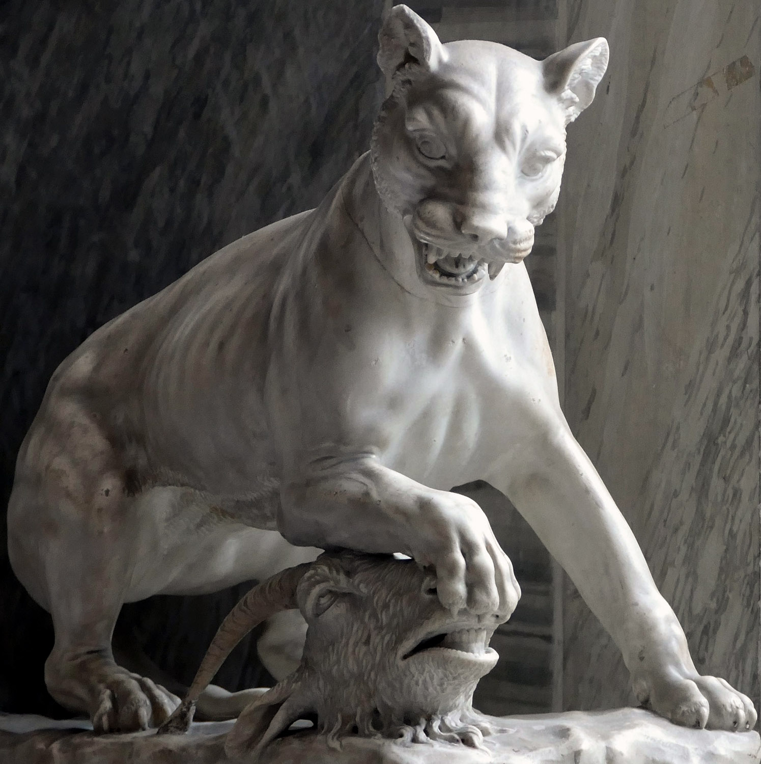 Panther with a goat's head between the legs. Marble. Roman work, roughly restored in the 18th cent. Inv. No. 516. Rome, Vatican Museums, Pius-Clementine Museum, Room of the Animals, 12