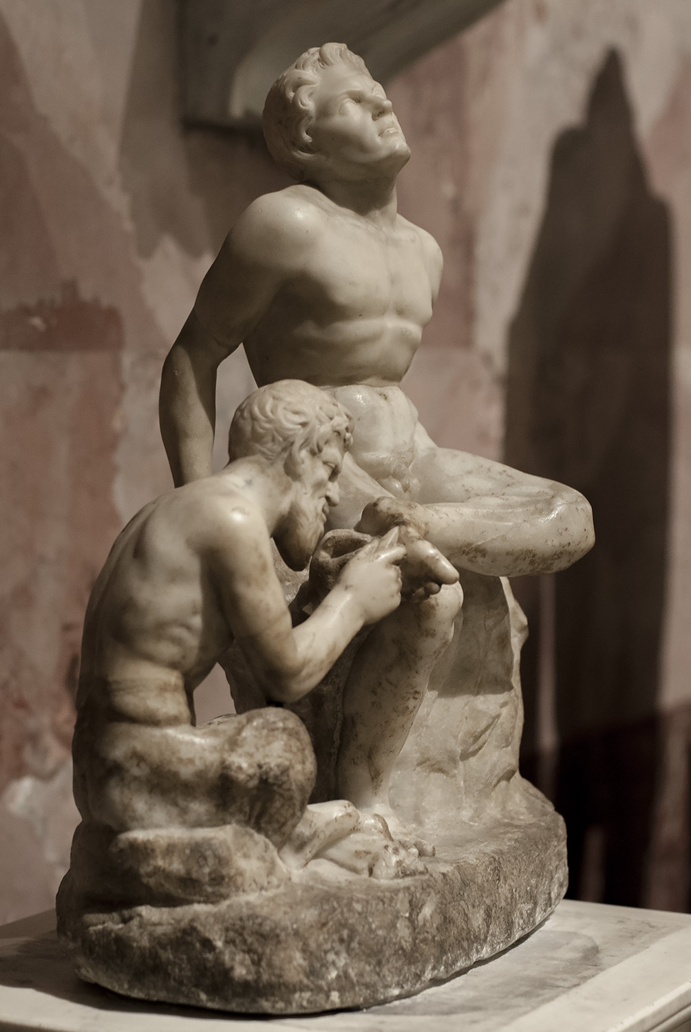 Pan removing a splinter from a satyr's foot. Marble. Roman work after a Greek statuary group of the 3rd cent. BCE. Inv. No. ГР. 4181 (А. 388). Saint Petersburg, The State Hermitage Museum