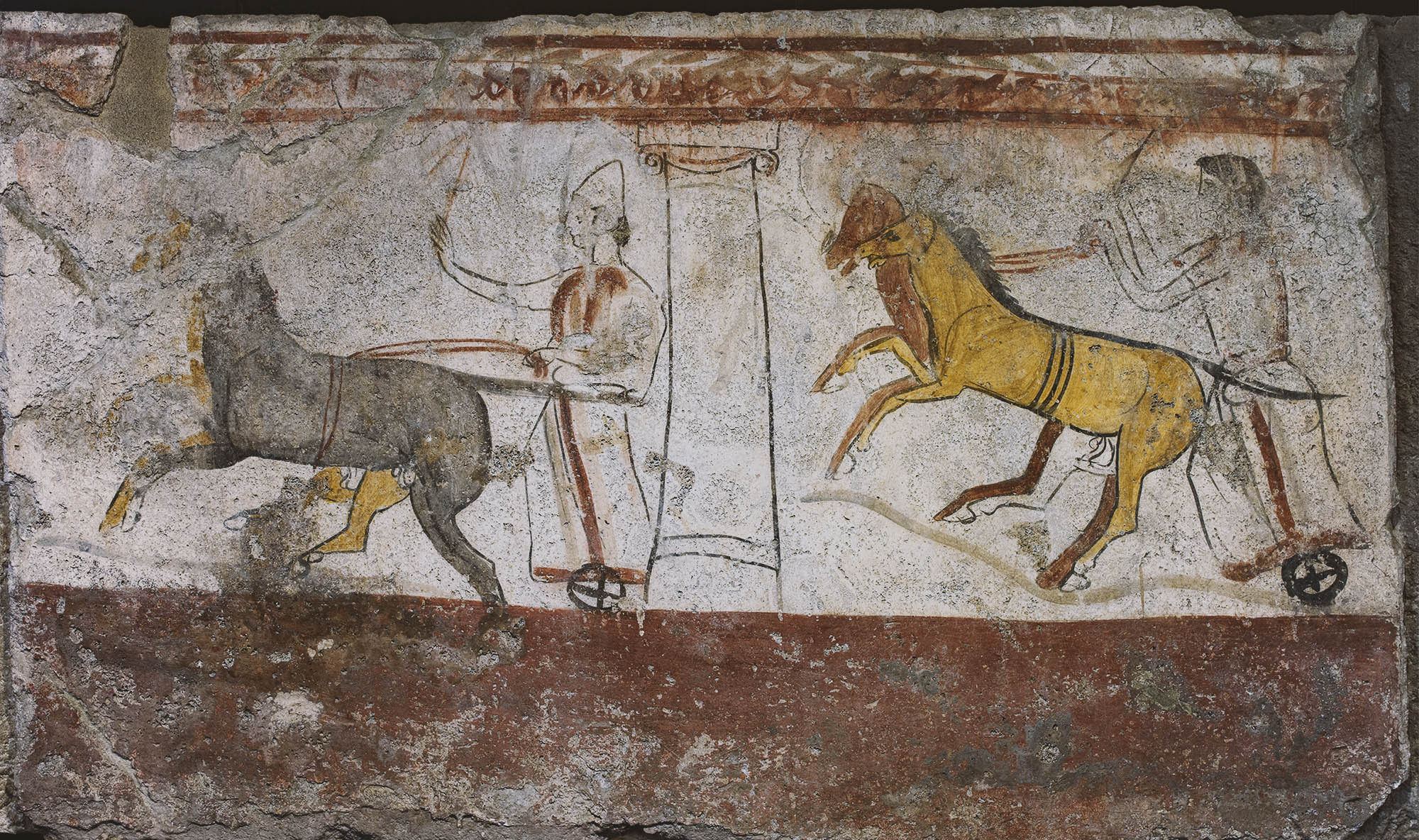Race of the bigae. Fresco on the inside side of sarcophagus slab from a Lucanian Tomb. 370—360 BCE. Paestum, National Archaeological Museum