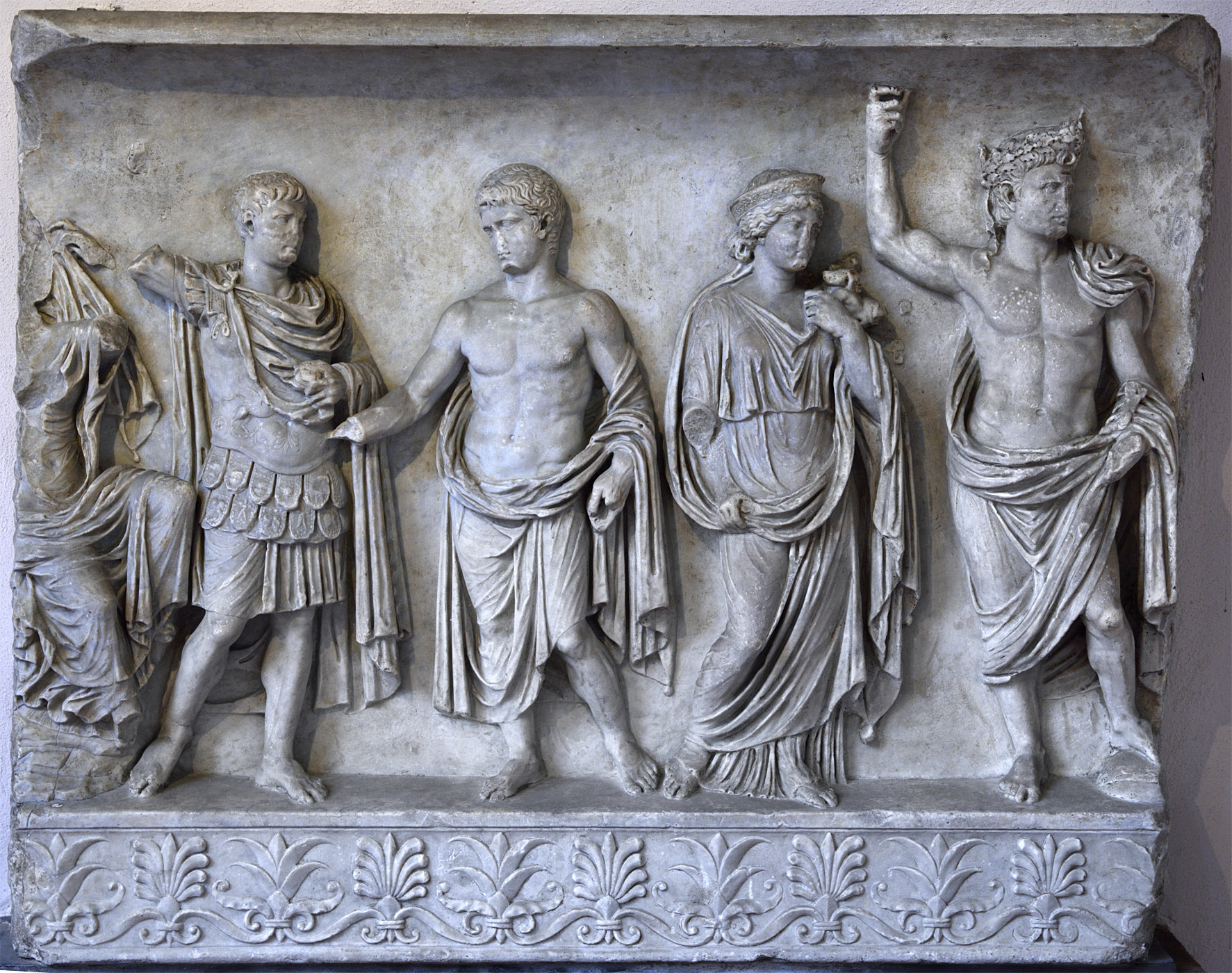 Altar relief with representation of members of gens Julia-Claudia (right part). Marble. 42—43 CE. Inv. No. 6. Ravenna, National Museum, First cloister