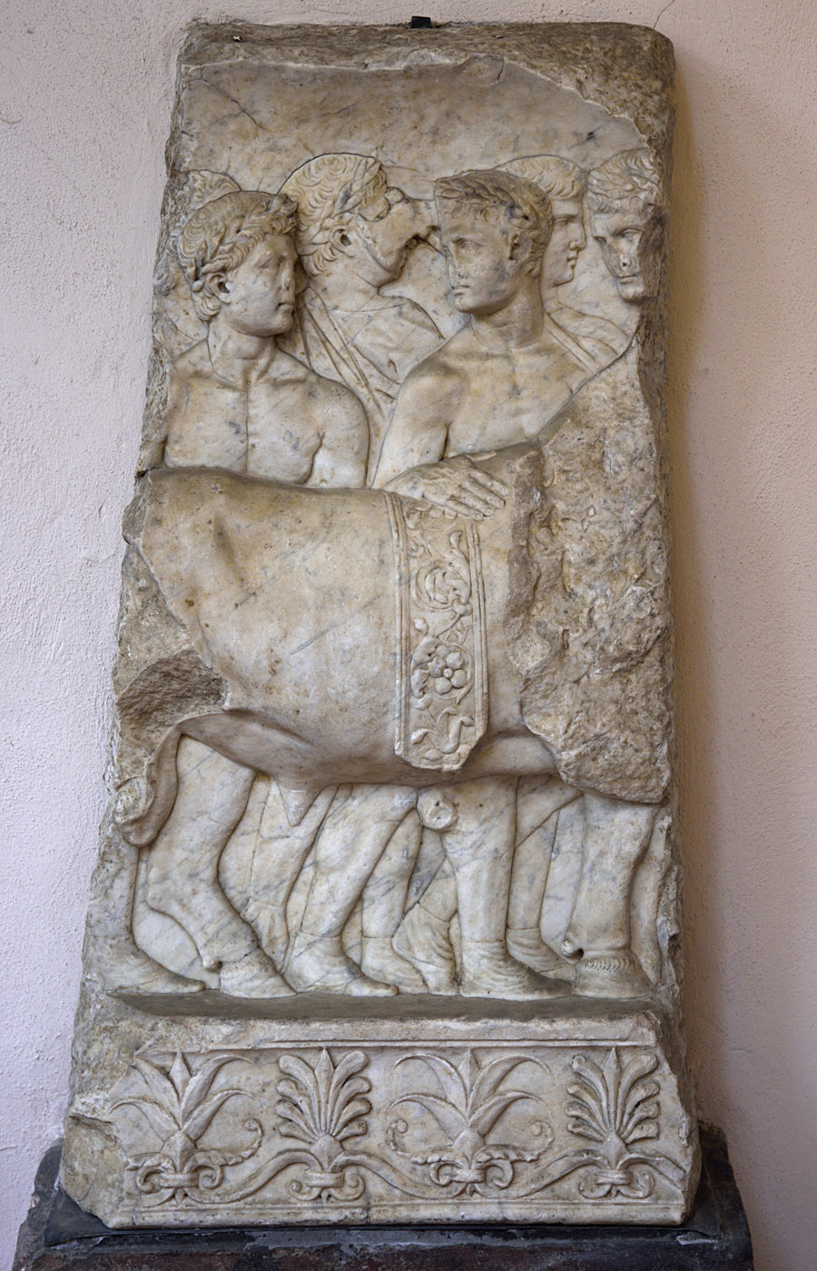 Altar relief with representation of a procession of priests (left part). Marble. 42—43 CE. Inv. No. 5. Ravenna, National Museum