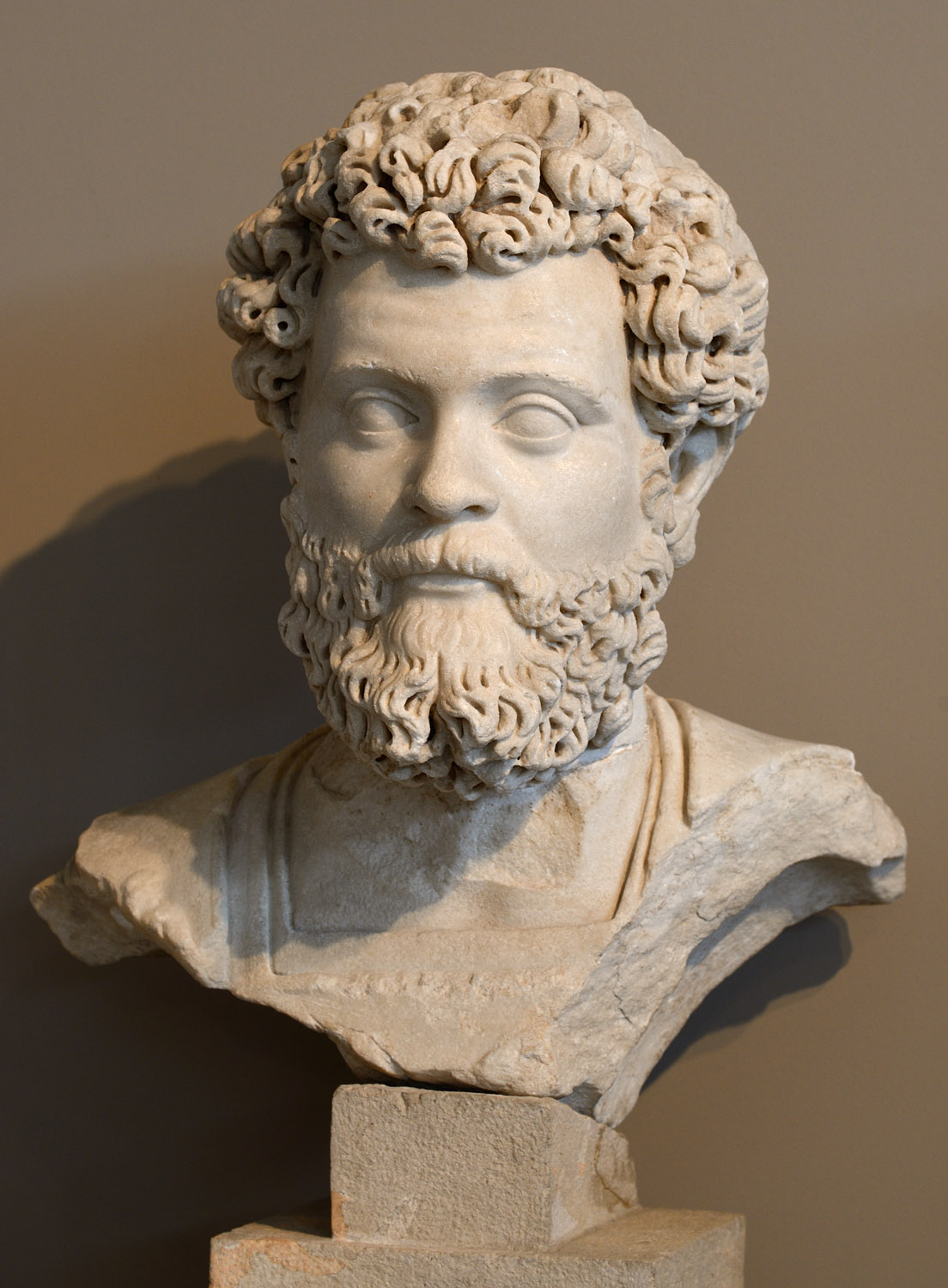 Septimius Severus. Marble. Northern Greece workshop. 196-200 CE. Thessaloniki, Archaeological Museum