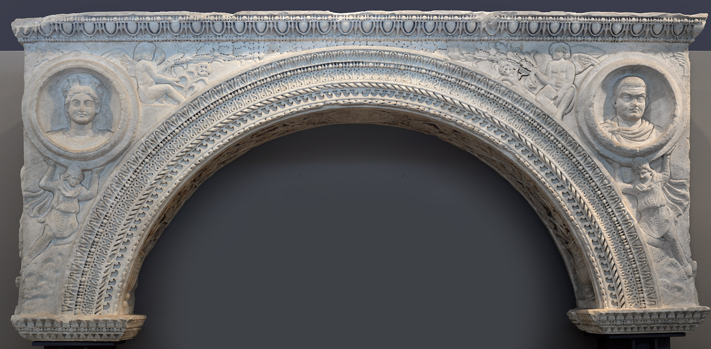 "The arch from Galerius' palace in Thessaloniki (known as ""The Small Arch of Galerius""). One piece of marble. Early 4th cent. CE. Thessaloniki, Archaeological Museum"